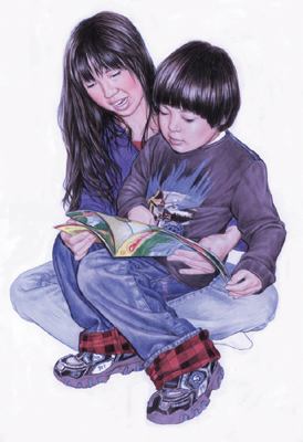 illustration of Realism, Children, Children's Books, Education, Family, People, Youth, Ethnic
