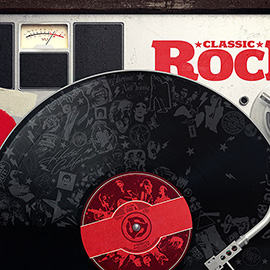 illustration of Cover illustration for Classic Rock magazine celebrating vinyl records. 3D, record player, analogue, rock music,