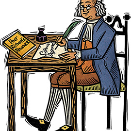 illustration of Linocut illustration of Ben Franklin at his writing desk, published in Weekly Reader magazine.
