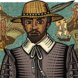 illustration of Historical portrait of Mathieu Da Costa, the first black man to visit Canada in the early 1600s. He was a free African employed as a translator by French traders and explorers. Commissioned by Andrew Perro Design as a mockup stamp for Canada Post.