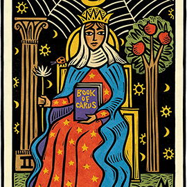 illustration of Birthday image for Marianne Carus, founder of Carus Publishing, now Cricket Media. Hand-carved linocut art is based on the High Priestess tarot card.