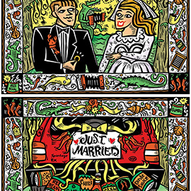 illustration of TV commercial for Kia cars. Hand-carved lino-cut with digital color. Cajun wedding scene with decorative border.