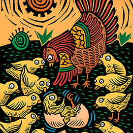 illustration of Linocut illustration from children's educational picture book, Medio Pollito, a Mexican folktale published by The Child's World.