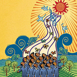illustration of Hand-carved linocut illustration of a children's choir depicting the African American poem by James Weldon Johnson. Art is colored digitally.