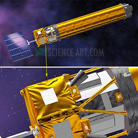 illustration of The Gravity and Extreme Magnetism SMEX (GEMS) Mission will use an X-ray telescope to track the flow of highly magnetized matter into supermassive black holes. Created using Strata CX 3D Pro.