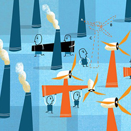 illustration of windmill, graphic, corporate, editorial, energy,clean energy
