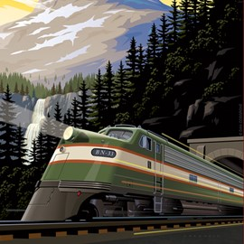 illustration of train mountains pine trees waterfall clouds tunnel poster