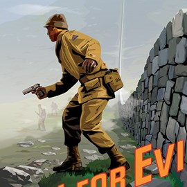 illustration of Billy Boyle army solder gun world war two wall stones fog clouds