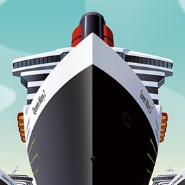 illustration of Queen Mary 2 Cunard cruise ship art deco travel sailing Queen Elizabeth Queen Victoria ocean liner ocean
