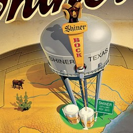 illustration of water tower, beer, bull, steins, earth, states, map, paddle cactus, cactus, bottle, beer bottle, Shiner Bock, road sign, tap
