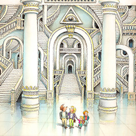 illustration of Family in a complex and confusing place.