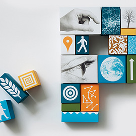 illustration of Collage, Cut Paper, Design, Lettering, 3-D Collage, Icons, People, Science
