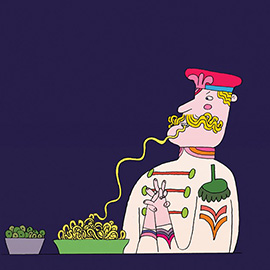 illustration of Cartoon, Graphic, Line with Color, Character Development, Food, People, Posters