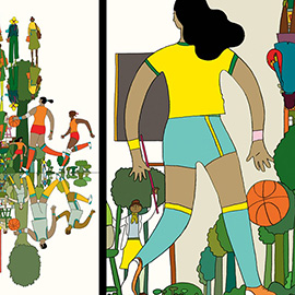 illustration of Conceptual, Line with Color, Pen & Ink, Whimsical, People, Sports, Lifestyle, Youth