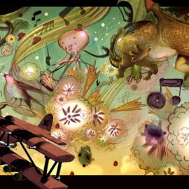 illustration of Cartoon, Figurative, Painterly, Animals, Fantasy, Toys & Games, Transportation