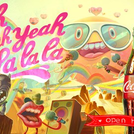 illustration of Animation, Cartoon, Lettering, Painterly, Fantasy, Landscape, Music, Product, Branding