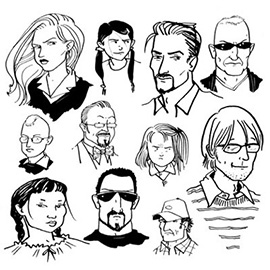 illustration of Assortment of characters from past projects