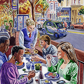 illustration of Colored Pencil, Figurative, Gouache, Watercolor, Food, People, Food/Beverage, Lifestyle, Urban