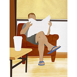 illustration of A man in a coffee shop reads a newspaper.