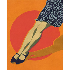 illustration of A fashionable model's legs wearing heels and a polka-dot bubble dress, for Illo11 (3x3 magazine's illustration directory)