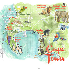 illustration of Pen & Ink, Watercolor, Editorial, Landscape, Maps, Travel