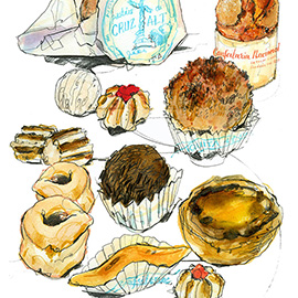 illustration of Pen & Ink, Watercolor, Editorial, Food