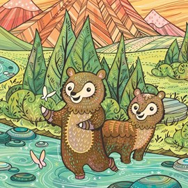 illustration of Concept art for children's book featuring young bears playing in the river with the landscape of Yosemite National Park behind them. Includes animals, trees, mountains, colorful and whimsical.