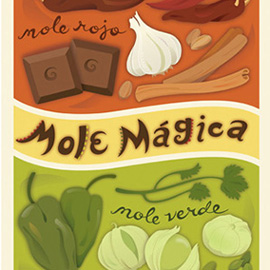 illustration of Created for a food magazine, this illustration features ingredients in mole sauce.