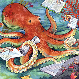illustration of octopus, sea creature, underwater, ocean, fish, storybook, children's book, narrative, whimsical, anthropomorphic