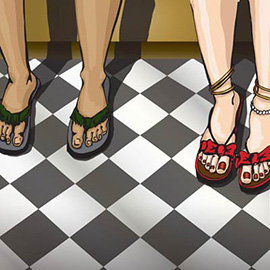 illustration of Two pairs of feet standing in an elevator