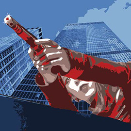 illustration of Woman with gun with building skyline in background