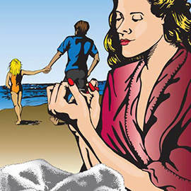 illustration of Woman Filing her nails and man and child on the beach