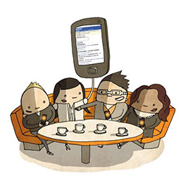 illustration of Line with Color, Interactive, Character Development, Corporate, People, Web Illustration