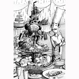 illustration of Black & White, Figurative, Line, Pencil, Children's Books, Food