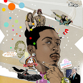 illustration of Conceptual, Design, Montage, Pen & Ink, Celebrities, Editorial, Music, People, Portrait