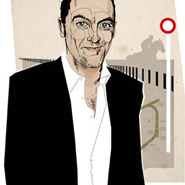 illustration of Line, Pen & Ink, Stylized, Annual Report, Celebrities, Corporate, People, Portrait, Masculine