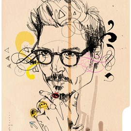 illustration of Figurative, Line, Pen & Ink, Stylized, Celebrities, Editorial, Fashion/Cosmetics, People, Portrait, Masculine
