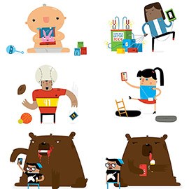 illustration of Digital, Graphic, Vector, Animals, People, Technology