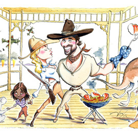 illustration of Caricature, Pen & Ink, Watercolor, Humor, Animals, Celebrities, Editorial, Leisure, Romance, Lifestyle
