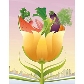 illustration of fruit, vegetables, flower, spiritual, citiscape, landscape