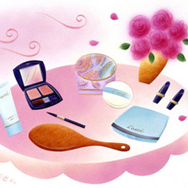 illustration of make up, brush, mirror, beauty, flowers, Coco Masuda