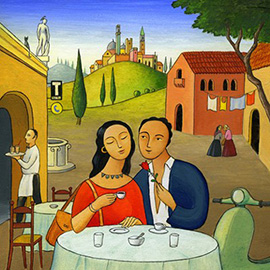 illustration of a village in Italy outside of Rome for a romantic dinner for 2