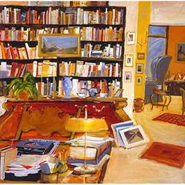illustration of study, office, books, paintings, NYC, new york city, desk, Michael Paraskevas