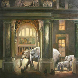 illustration of steam punk, steampunk, elephants, buildings, Francis Livingston