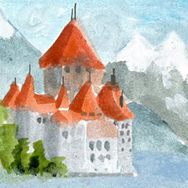 illustration of chateau, mountains, alps, snow