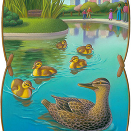 illustration of The ducklings are following mother duck out of their nest and into a pond at Boston Public Gardens.