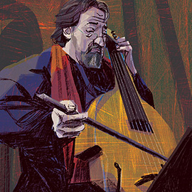 illustration of Portrait of musician playing the cello.