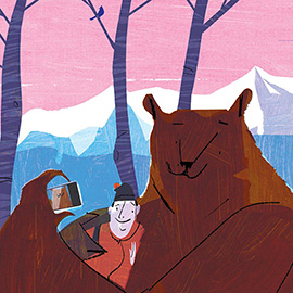 illustration of Camper and bear taking a selfie with a smart phone.