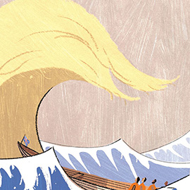 illustration of Donald Trump, president, presidency, political, United Kingdom, UK, hair, United States, ocean, boat, wave, tsunami, disaster, fear, economy, international, adventure, conceptual, clever, storm, satirical,