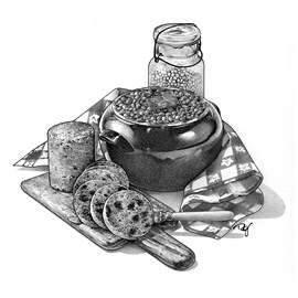 illustration of Pen & ink stipple drawing of Boston baked beans and brown bread. Cookbook, dinner, pottery, cooking, baking